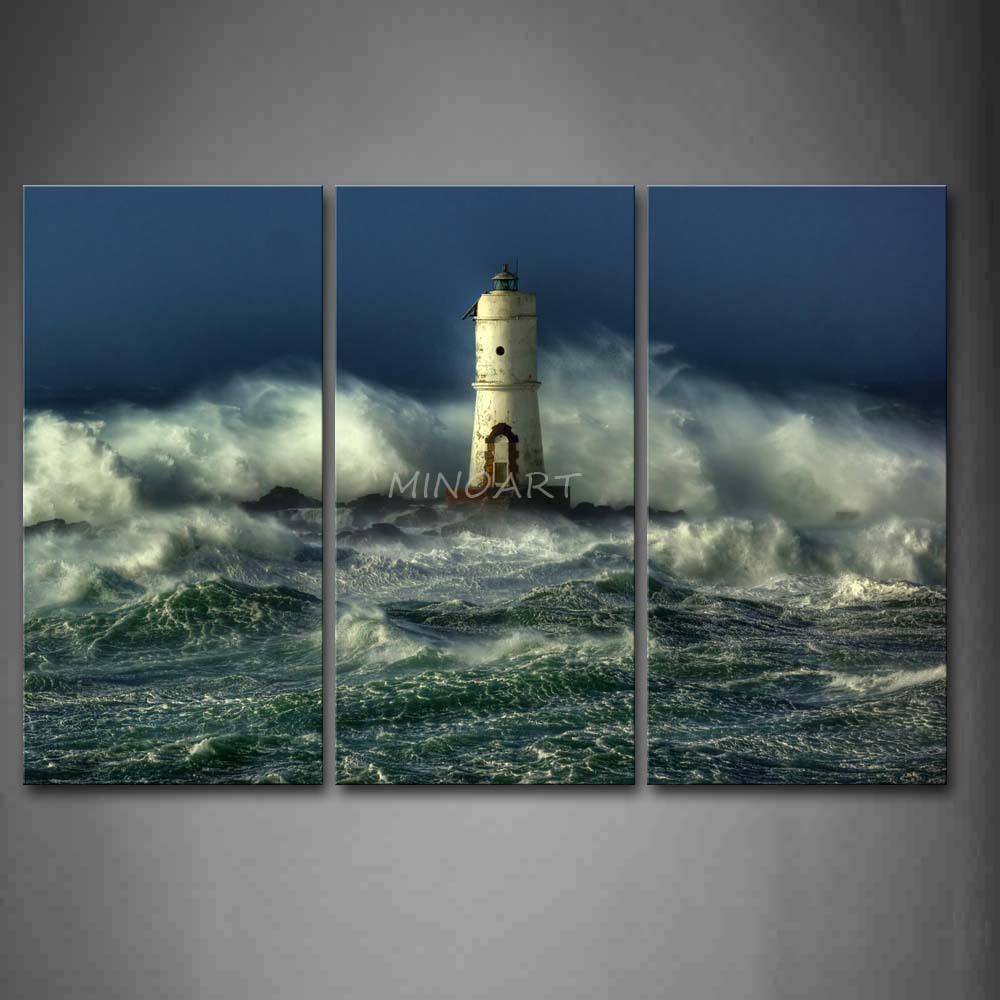 Lighthouse Wall Art online shop 3 piece wall art painting lighthouse with waves of the