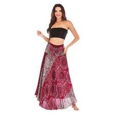 6687d7e588 Primavera Verano falda para mujer 2019 largo Hippie gitana Bohemia flores elástico  estampado Floral falda playa