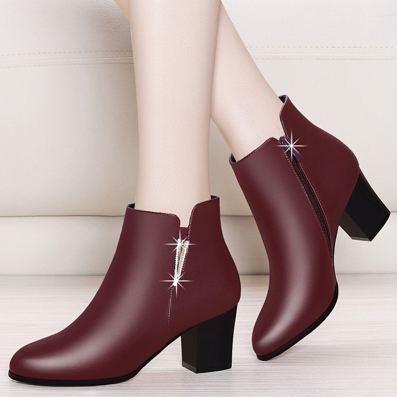 Actual Sheepskin Leather-based Boots Excessive Heel Ankle Boots For Girls Real Leather-based Boots Spherical Toe Black Purple Footwear Zipper YG-B0026 Ankle Boots, Low cost Ankle Boots, Actual Sheepskin Leather-based...