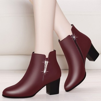 цена на Real Sheepskin Leather Boots High Heel Ankle Boots For Women Genuine Leather Boots Round Toe Black Red Shoes Zipper YG-B0026