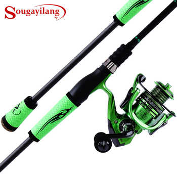 Sougayilang 2.1M 2.4M Spinning Fishing Rod Reel Combo -Carbon Portable Lure Rod Pole with 13+1BB Spinning Fishing Reel Wheel - DISCOUNT ITEM  50% OFF Sports & Entertainment