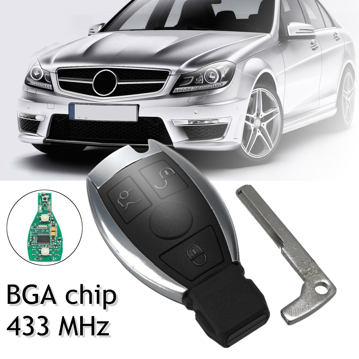 433MHz 3 Buttons Remote Key Replacement Entry Fob Transmitter for Mercedes/Benz A E S G CLK SLK ML 2000+ w/ BGA Chip Uncut Blade