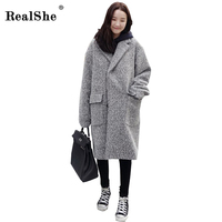 RealShe 2018 Winter Coat Women Lapel Pockets Wool Blend Coat Oversize Long Trench Coat Outwear Casual Single Breasted Clothing