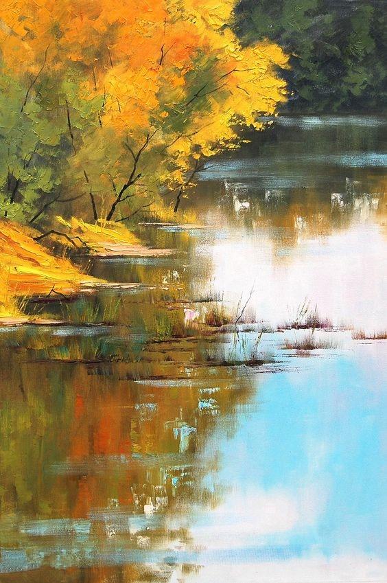 Берег реки по Книги по искусству Саус. deviantar, красивая река пейзаж маслом, ручная роспись, wall Книги по искусству фотографии, выполненные ...