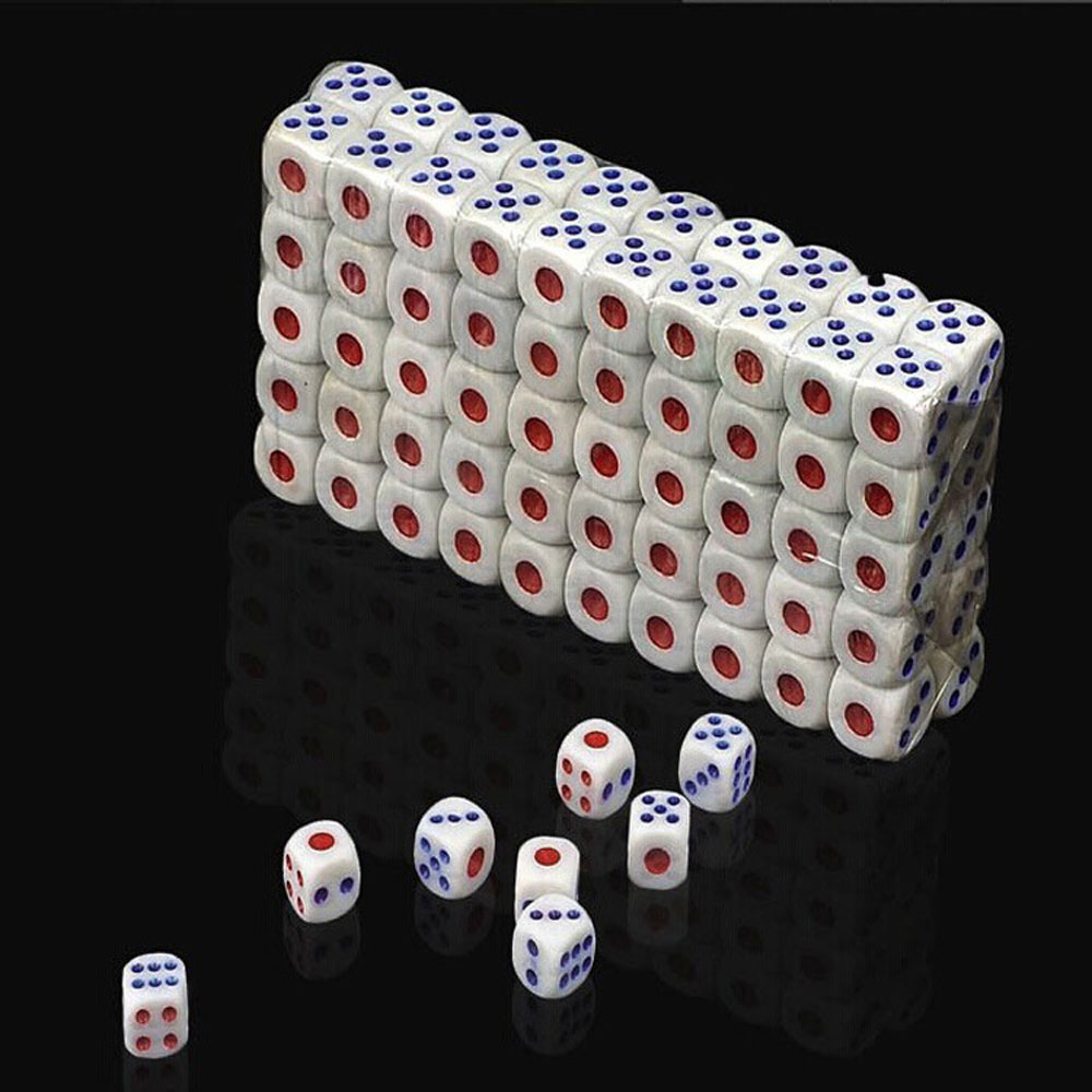 100 pcs Standard Plastic Dice High Quality Plastic 10mm White Six Sided Decider Die RPG Gambling Games Funny Toy Tool Bauble image