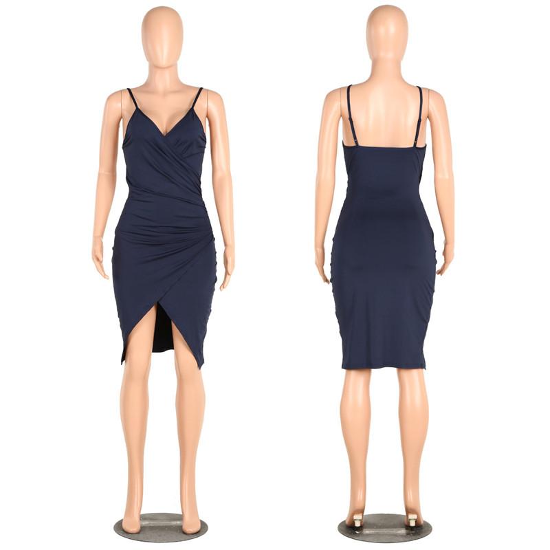 sexy deep v neck spaghetti strap dress-8