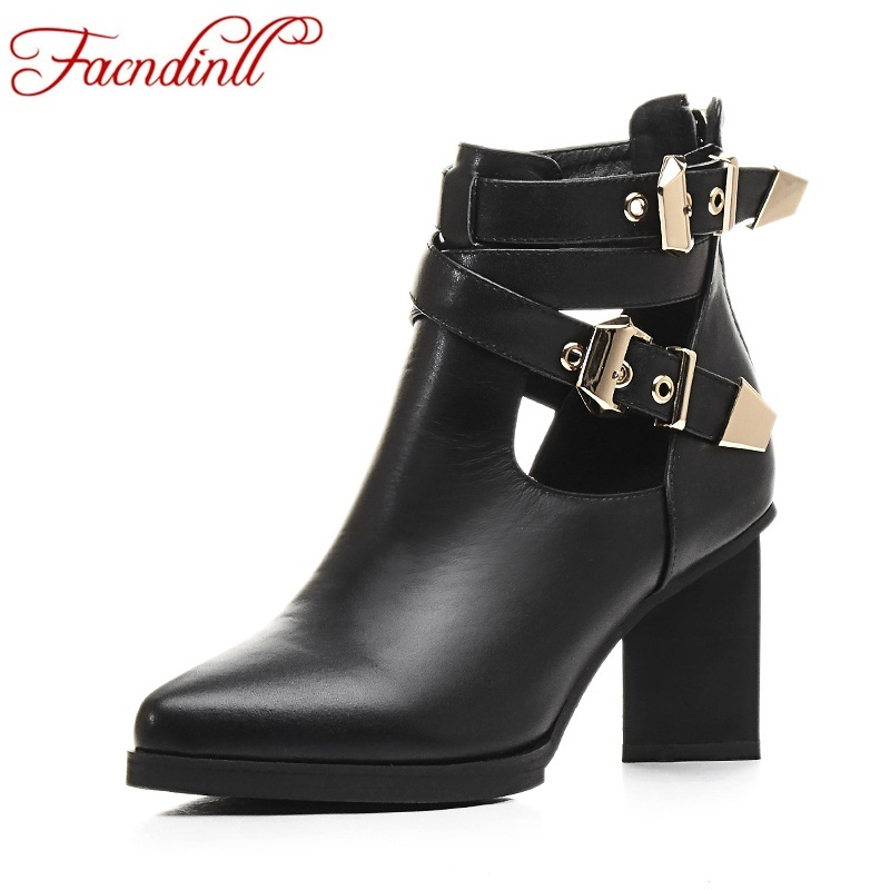 FACNDINLL genuine leather ankle boots shoes women pointed toe studded buckle ladies black martin boots luxury boot zapatos mujer ladies flat shoes fashion women flats ankle strap pointed toe flat shoes casual ladies loafers black shoes zapatos de mujer