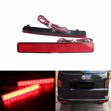 ANGRONG 2x For VW T5 Transporter / Caravelle Multivan 2003-11 Red Rear Bumper Reflector LED Tail Stop Light(CA243)