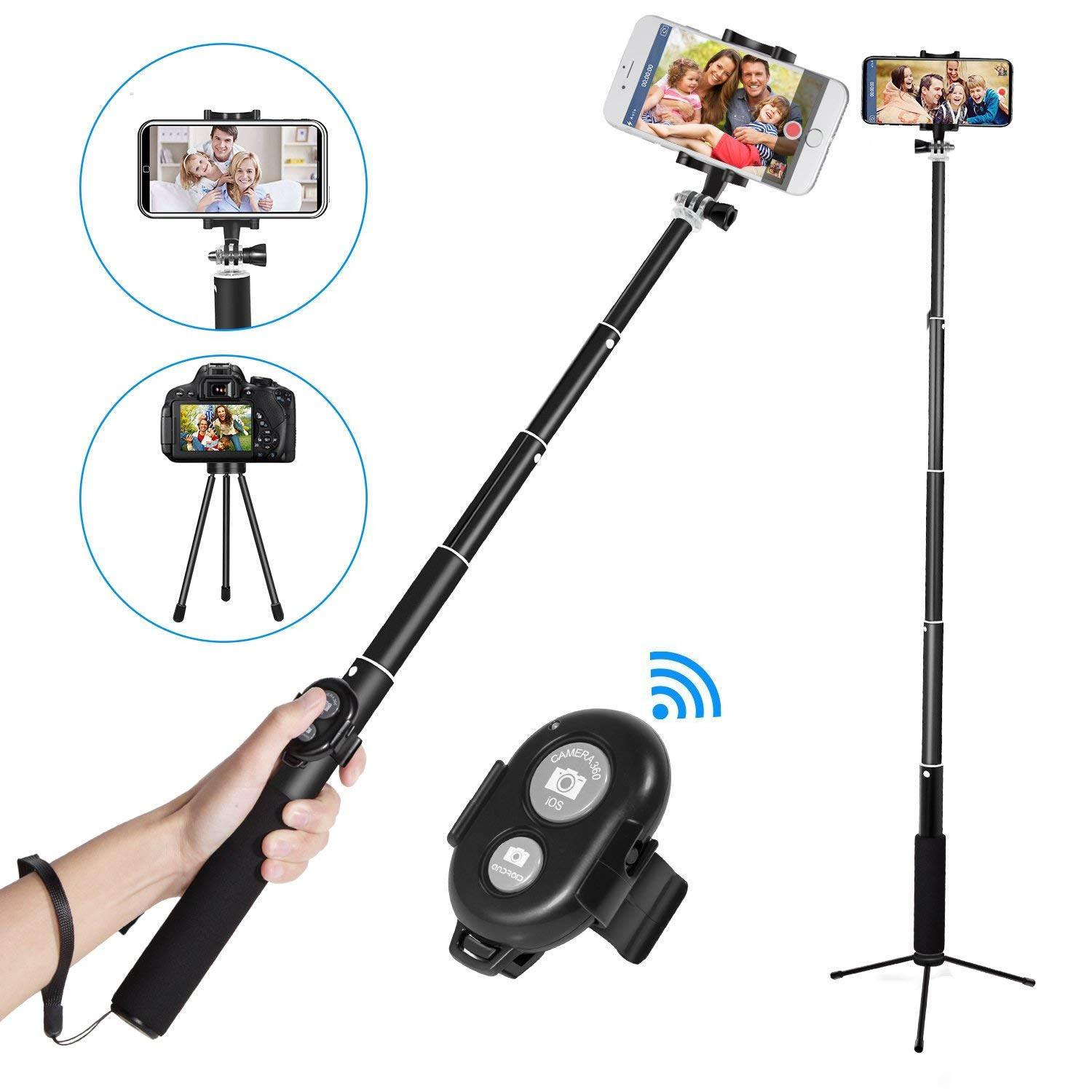 Phone Tripod Selfie Stick For iPhone Android For Samsung Xiaomi Huawei Remote Handheld Bluetooth Foldable Selfie stick led flash fill light selfie stick with rear mirror lighting bluetooth monopod for iphone x 8 samsung huawei xiaomi android phone