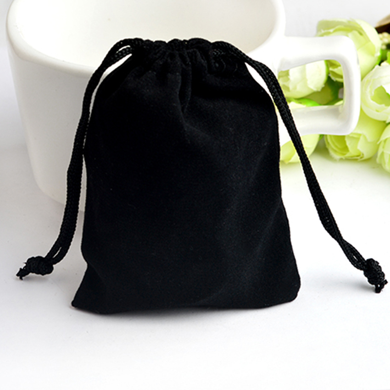 Black Velvet Pouches 3.3*2.5 Inch Jewelry Packaging Display Drawstring Packing Gift Bags & Pouches Packing Bags Accessories
