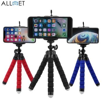ALLOET Mini Éponge Flexible trépied poulpe Selfie Bâton De Support de Trépied Pour Caméra De Téléphone Portable Avec Téléphone clip de fixation