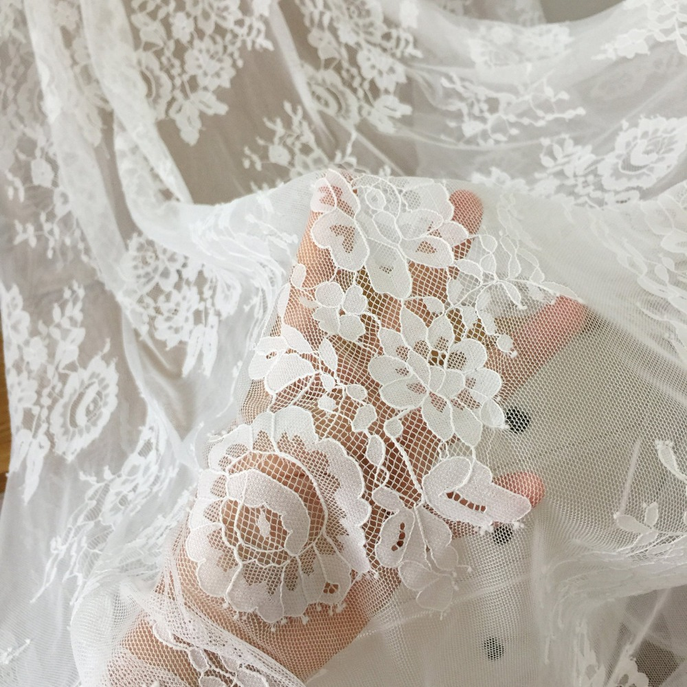 5 Yards Soft Floral Chantilly Lace Fabric Nice Gauze Tulle for Wedding Couture, Bridal Gown Cape Shrug Outfit 140cm wide