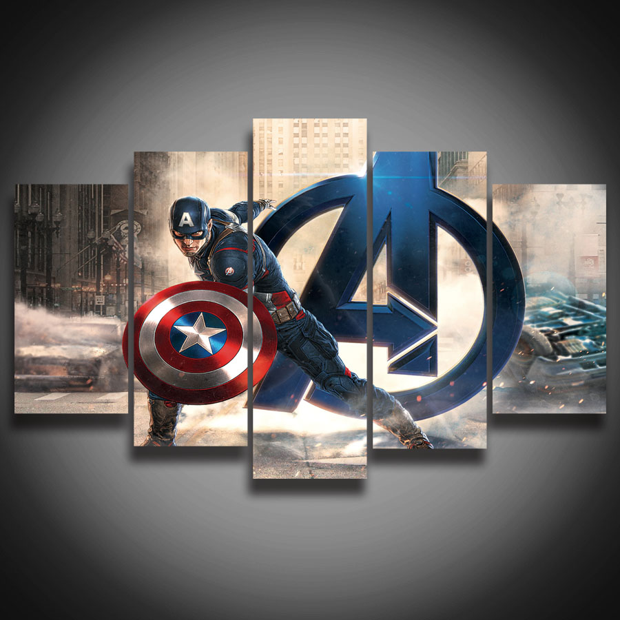 Buy framed hd printed movie super hero Captain america wall decor