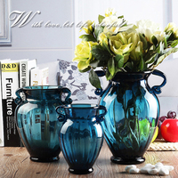 Glass Vase for Wedding Decoration Blue Hydroponic Dried Flowers Dining Tabletop Flower Basin Small Large Counter Plant Vase Gift