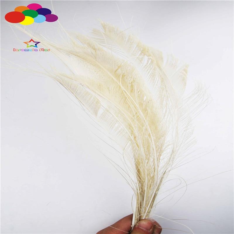 Z & Q & Y Naturel Nouveau 100 35-40 CM (14-16 Pouce) Paon Plume plume Teinture Blanc DIY Maquillage Balle de Scène Ornement Décoration