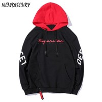 NEWDISCVRY Men Street Wear Hoodies 2018 Fashion Letter Printing Long Sleeve Hip Pop Pullover Casual Loose Cap Sweatshirts