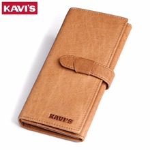 KAVIS Vintage Hasp Genuine Leather Wallet Large Capacity Long Design Male Purse Wallet with Coin Pocket High Quality