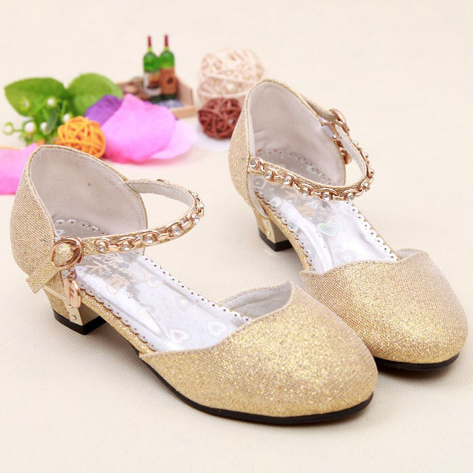 2017 Children Glitter Sandals Kids Girls Wedding Shoes High Heels Princess Dress Party Gold Pink Blue Silver In From Mother On