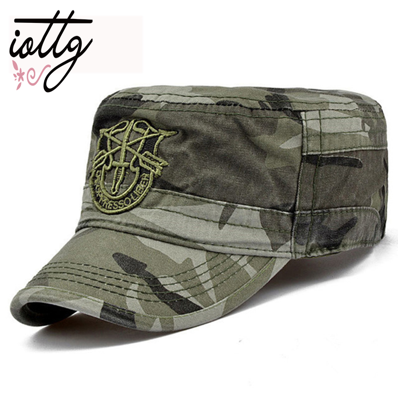 Men Tactical Army Camouflage Flat   Cap   Hats For Women Men Summer Camo Army   Baseball     Caps   Adjustable