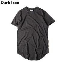 Для мужчин футболка 2017 летние однотонные Цвет изогнутые подол Длинные линии Камуфляж хип-хоп Футболка Elong плотная Kanye футболки Для мужчин Топ