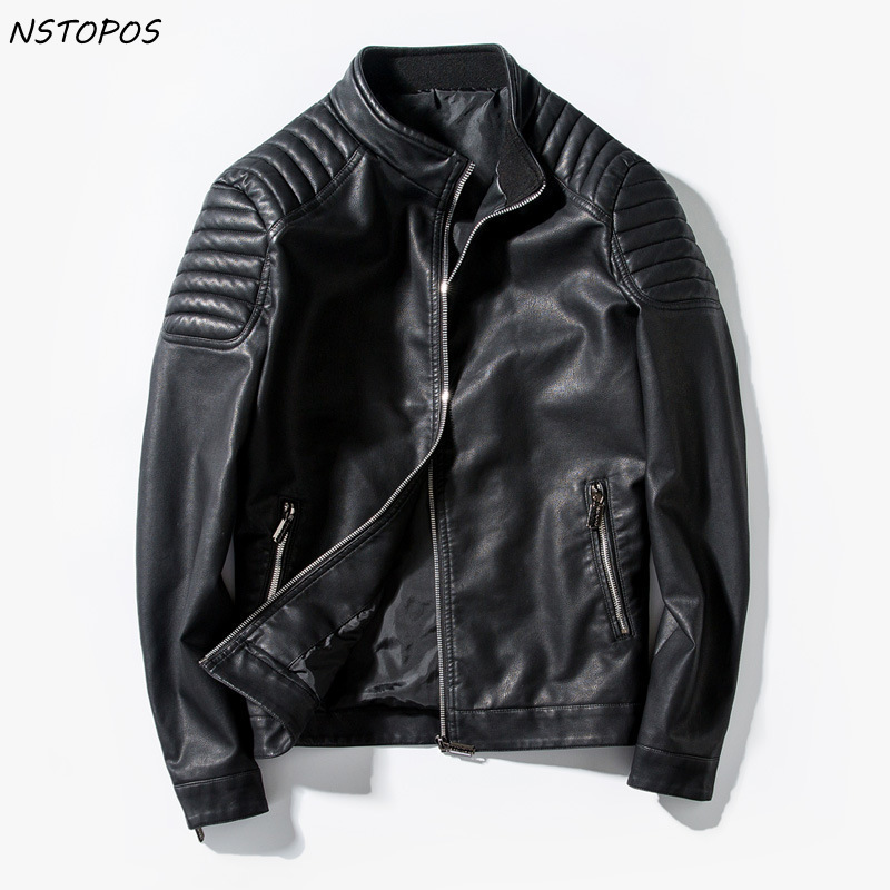 2017 Mens Leather Jacket Slim Fit Motorcycle Zipper PU Jacket Black Red Blue Men Faux Leather Jacket M-3XL Autumn Leather Coat m 3xl hot 2018 spring men s new fashion conventional models slim collar pu leather jacket