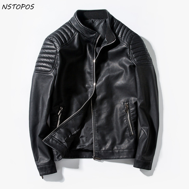 f2c8f6a3f US $67.6  2017 Mens Leather Jacket Slim Fit Motorcycle Zipper PU Jacket  Black Red Blue Men Faux Leather Jacket M 3XL Autumn Leather Coat-in Faux ...