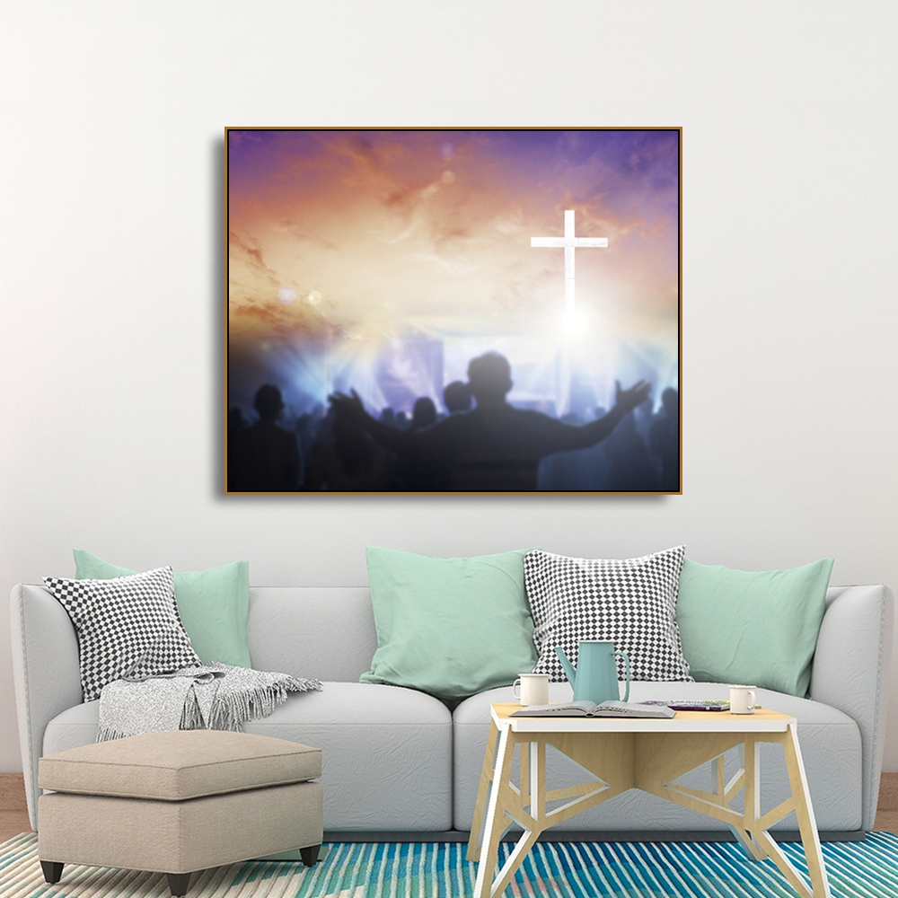 Laeacco Canvas Calligraphy Painting Cross Sunshine People Posters and Prints Wall Artwork Pictures for Living Room Bedroom Decor in Painting Calligraphy from Home Garden