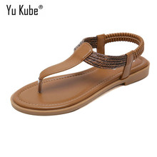 Yu Kube Summer Shoes Woman Sandals Classics Style Flip Flops Flat Sandalias Mujer 2019 Gladiator Beach Sandals Plus Size Ladies(China)