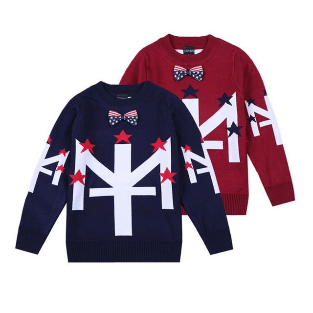 2017 new desgin Strange words stars bow cotton knitted sweater cardigan children Autumn winter outfit new child leisure coat