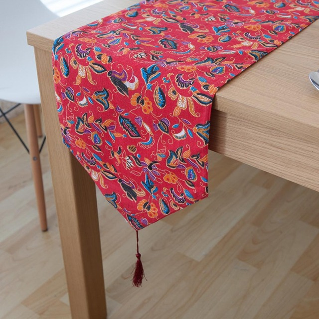 Classic Household Chinese Classical Red Cloth Floral Printed Linen Cotton  Table Runners With Tassel For Home