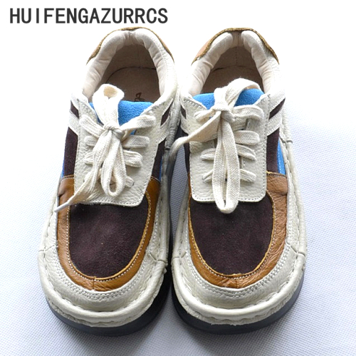 Huifengazurrcs-2017 Новый Симпсон женский литературный ручной работы на толстой подошве низкая обувь круглые туфли на плоской подошве в стиле ретро ...