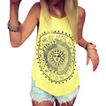 Sexy Women Sun Printed Blouse Sleeveless Vest Tee Shirt Blouse Casual Tank Tops