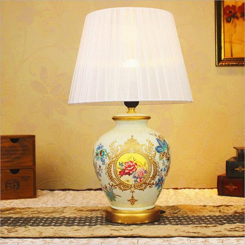 Новинка Винтаж ручная роспись китайский Керамика Ткань LED E27 настольная лампа для свадебного декора Гостиная Спальня диаметр 28 * h51cm 1621