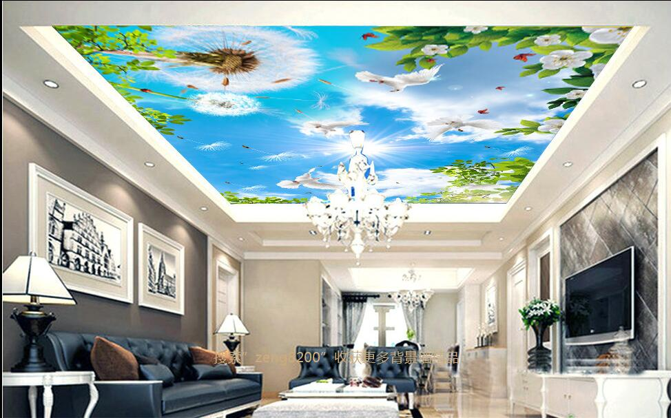 3d ceiling murals wallpaper custom photo non-woven sky dandelion dove leaves painting 3d wall mural wallpaper for living room ceiling non woven wallpapr home decoration wallpapers for living room 3d mural wallpaper ceiling customize size