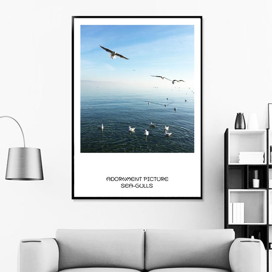 Gaivotas-7-Space-Sky-Sea-Wall-Art-Posters-E-Impress-es-Pintura-Da-Lona-N-rdico