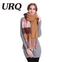 [URQ] yeni Moda Kadın Ekose Haki Gri Kalın Kış Eşarp Ekstra Uzun Sıcak Şal Euro Tasarımcı Atkılar Büyük Püskül A5A20833