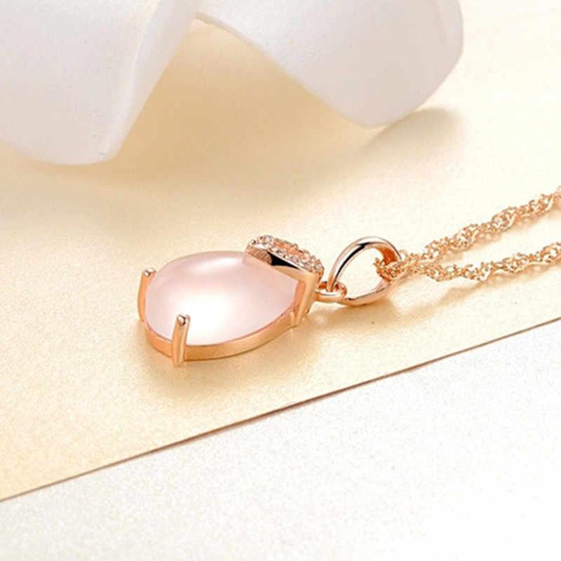 Temperament pani szczęście kamień naszyjnik wisiorek Furong proszek kamienny kryształowe krople Rose złoty wisiorek damska biżuteria na prezent