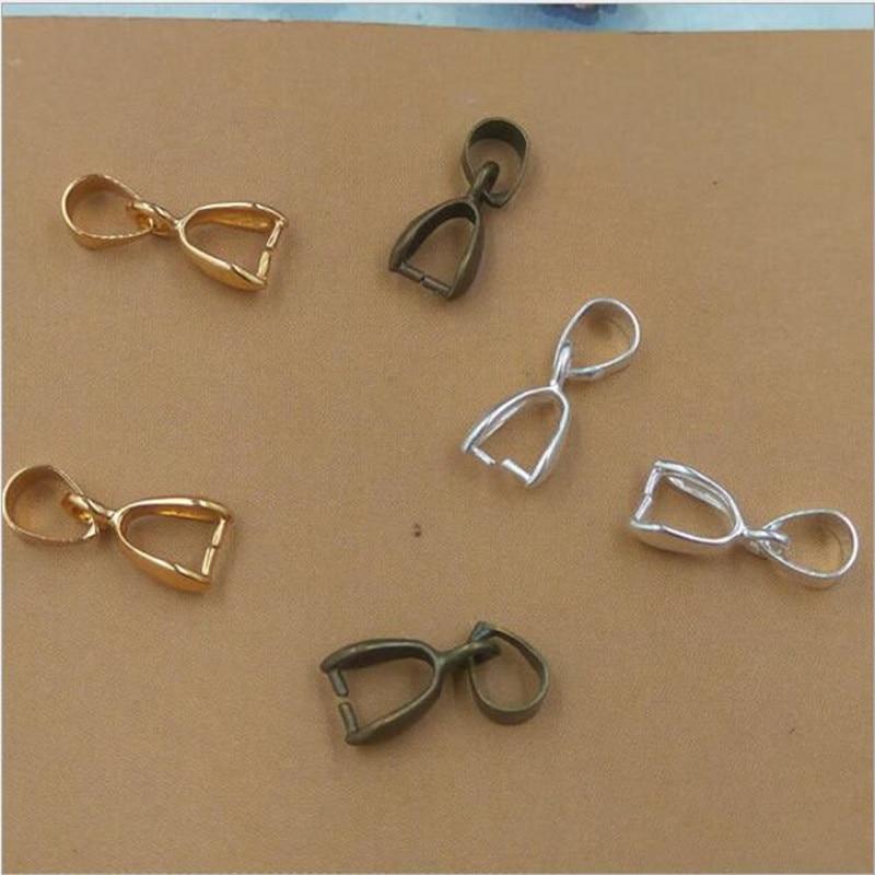 30pcs 6x15mm Original Brass Silver/Gold/Bronze Plated Necklace Bail Connector Bale Pinch Clasp Bail Pendant Necklace Clasp Z762