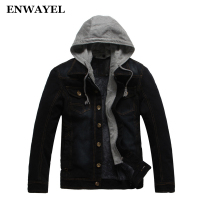 ENWAYEL Autumn Winter Hooded Denim Jacket Coat Men Velvet Warm Casual Male Hood Jeans Jackets Mens