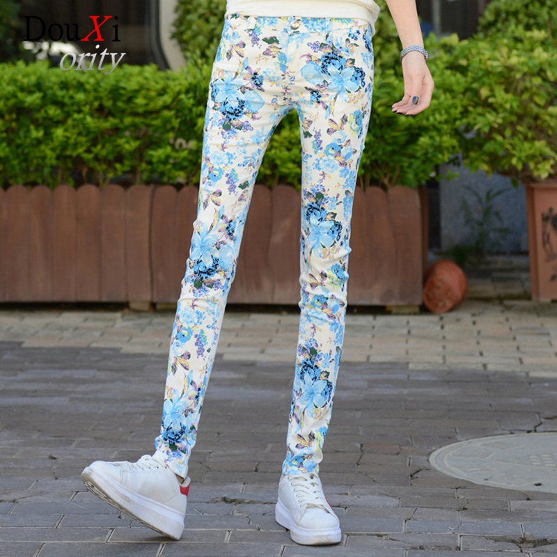 Spring Autumn 2017 Women Jeans Print Pencil Pants Stretch Skinny Slim Jeans Casual Denim Female Trousers Mid-waist Plus Size 3XL 2017 spring and autumn plus size white female skinny jeans pants trousers lengthen female slim pencil pants for women ladies