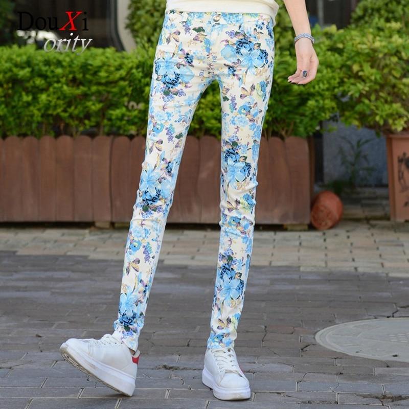 Spring Autumn 2017 Women Jeans Print Pencil Pants Stretch Skinny Slim Jeans Casual Denim Female Trousers Mid-waist Plus Size 3XL spring 2014 plus size denim bib overalls women slim stretch skinny jeans for women denim pencil pants jumpsuit free ship b2318