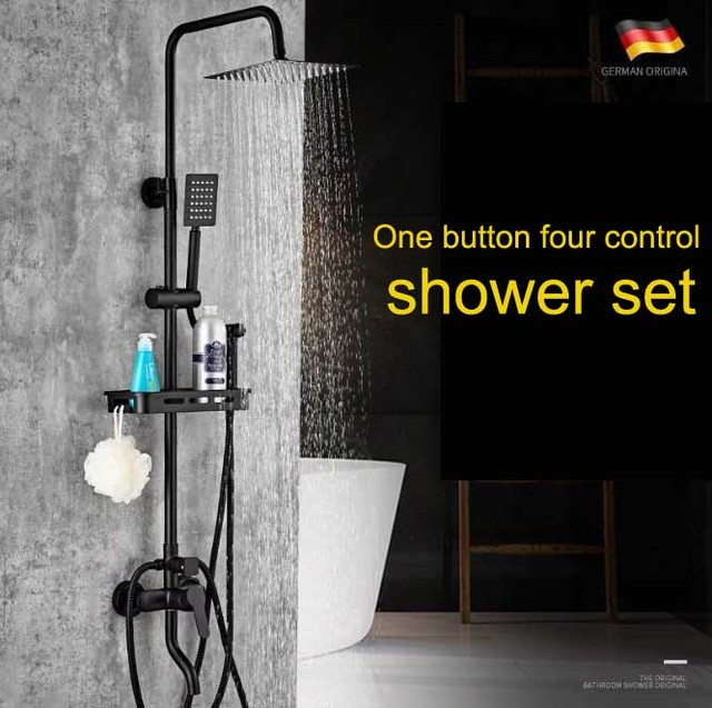 LTENG Black shower set copper faucet ceramic spool stainless steel top spray with  hand spray&bidet shower system free shipping