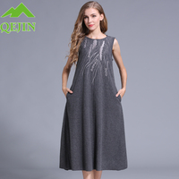 Women's wool dresses winter embroidery woolen dresses fashion Embroidery Solid color(Gray;Black) long dress wool lady vest dress