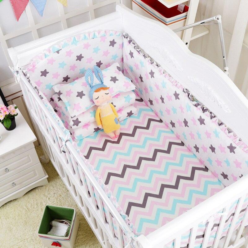 Ensemble de literie bébé 120*60 cm pare-chocs bébé ensemble de berceau en coton pare-chocs matelas coussin arrière linge de lit pour enfants