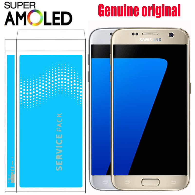 ORIGINAL SUPER AMOLED 5 1 LCD with Frame for SAMSUNG Galaxy S7 Display G930 G930F Touch