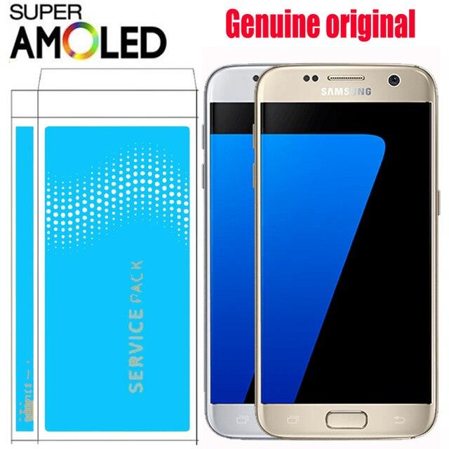 ORIGINAL SUPER AMOLED 5,1 ''LCD con marco para SAMSUNG Galaxy S7 pantalla G930 G930F pantalla táctil digitalizador reemplazo de montaje