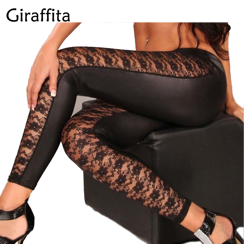Giraffita High Quality Punk Black Faux Leather Gothic Lace Legging Women Lace Up Leggings Cheap Hot