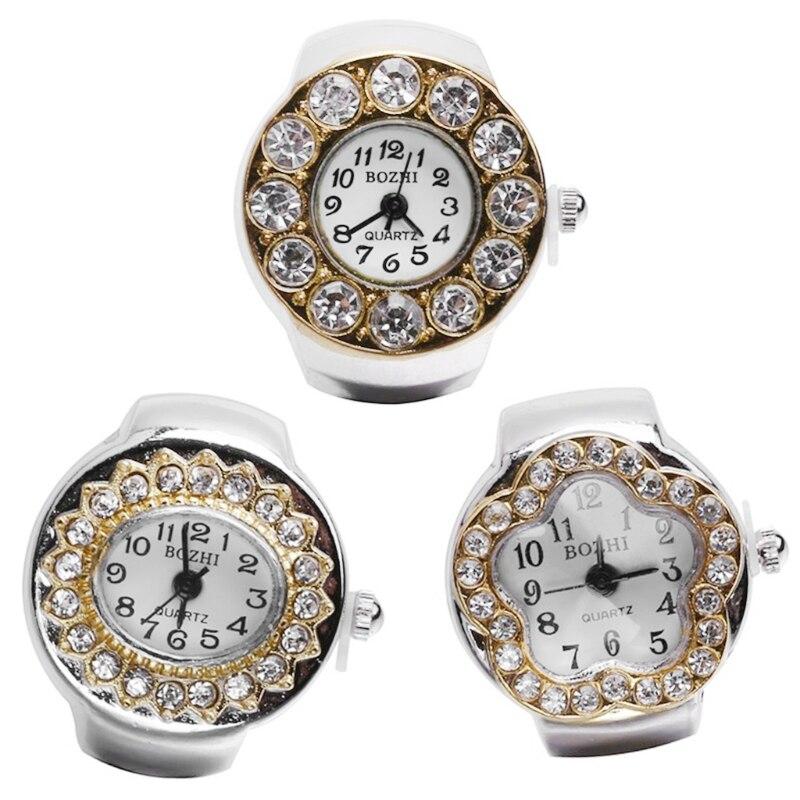 2018 Women Finger Ring Watch Rhinestone Elastic Watch Gift F