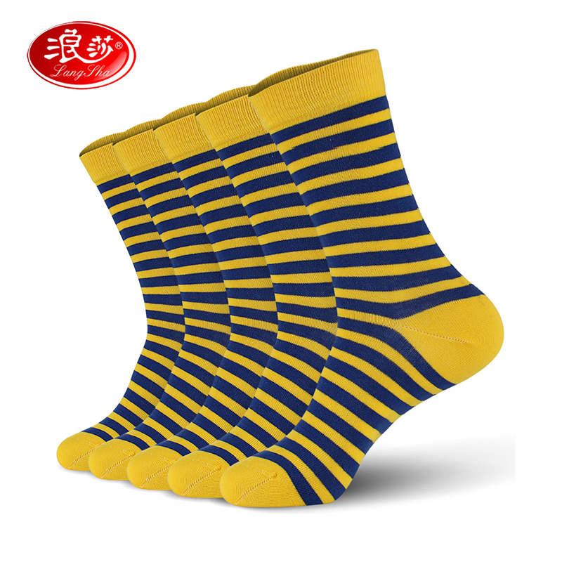 Men Cotton Socks Stripped Man Soft Socks 5pair/lot Man Crew Socks Plus Size (EU 39-46) (US 7.0-12.0)  Langsha