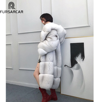 FURSARCAR 2018 Luxury 100cm Long Real Fox Fur Jacket Women Natural Denmark Imported Blue Fox Fur Coat Fashion Winter Real Fur